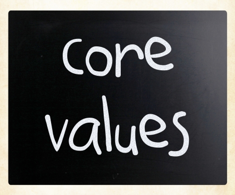 Ethics concept - core values handwritten with white chalk on a b